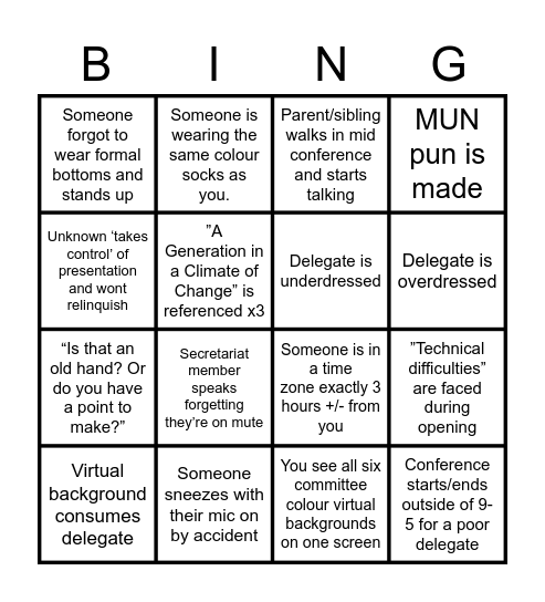LIMUN: HS V Bingo card Bingo Card