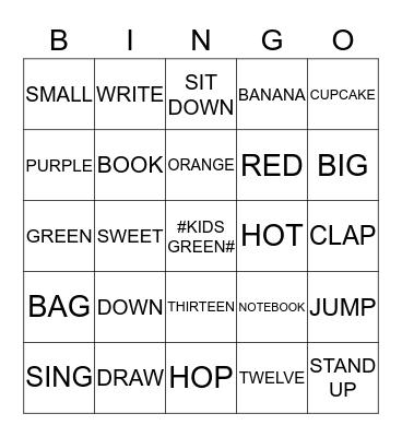 KIDS GREEN Bingo Card