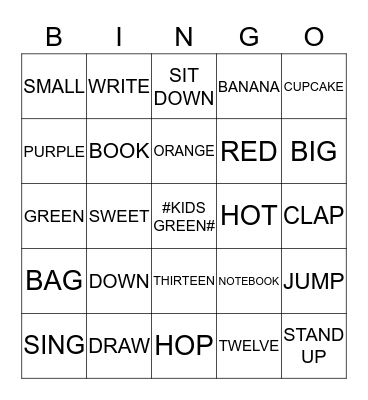 KIDS GREEN Bingo Card
