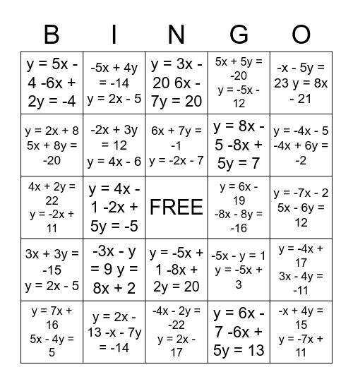Substitution Bingo Card
