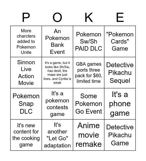Pokemon Day Announcements Bingo Card