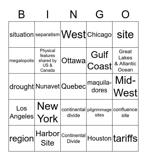 North American Bingo Card