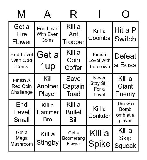 Super Mario 3D World Bingo Card