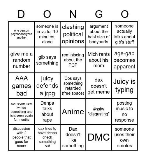 Mudpuddle Bingo Card