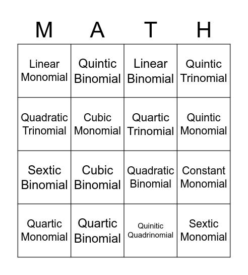 Naming Polynomials Bingo Card