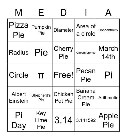 MediaCy Pi Day Bingo Card