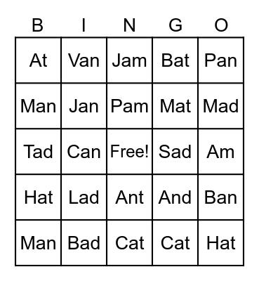 """Short """"A"""" Bingo Card"""