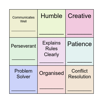 Our Strengths Bingo Card