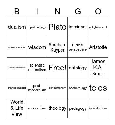 Worldview Bingo Card