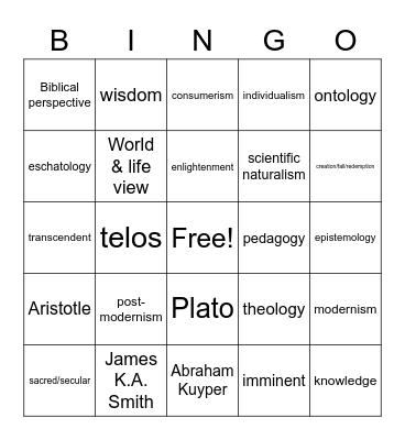 Bingo (Worldview) Bingo Card