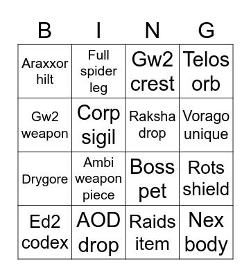 NWO PVM Bingo Card