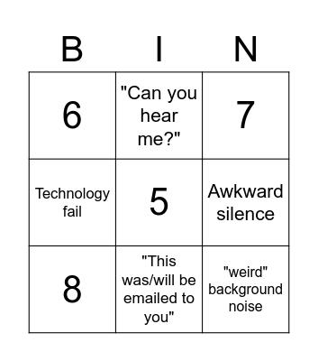 Google Meet Bingo Card