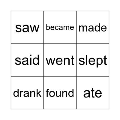 Irregular verbs - beginners Bingo Card