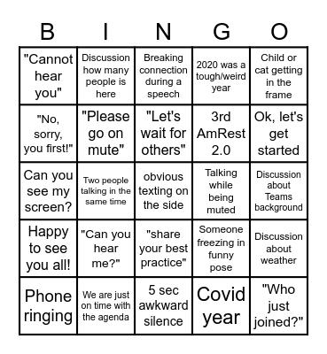 HR Global Meeting Bingo Card