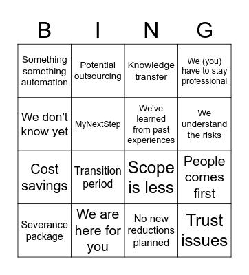 Outsourcing Bingo Card