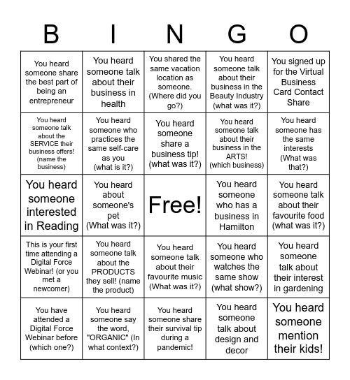 Digital Force Networking Bingo! Bingo Card