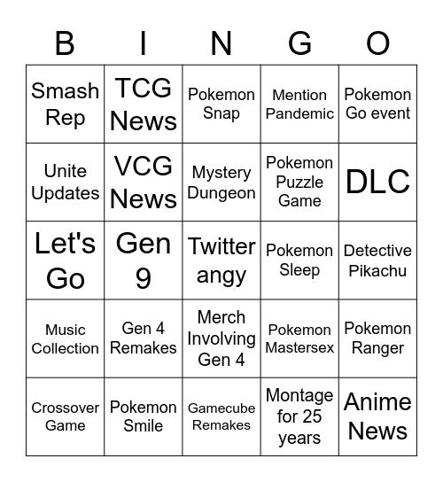 Pokemon Presents Bingo Card