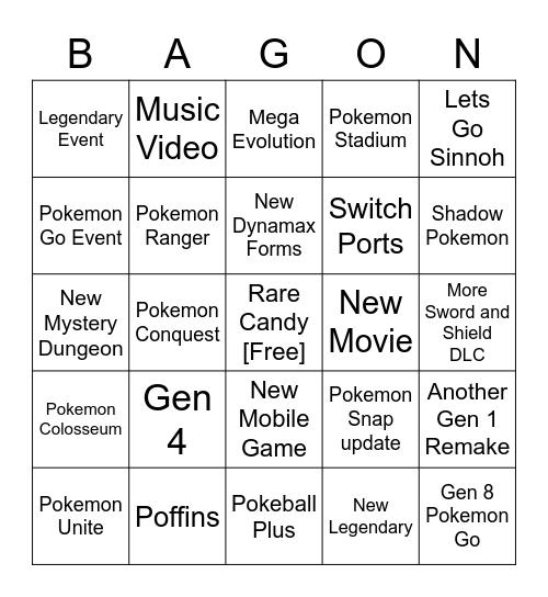 Pokemon Direct Feb. 2021 Bingo Card