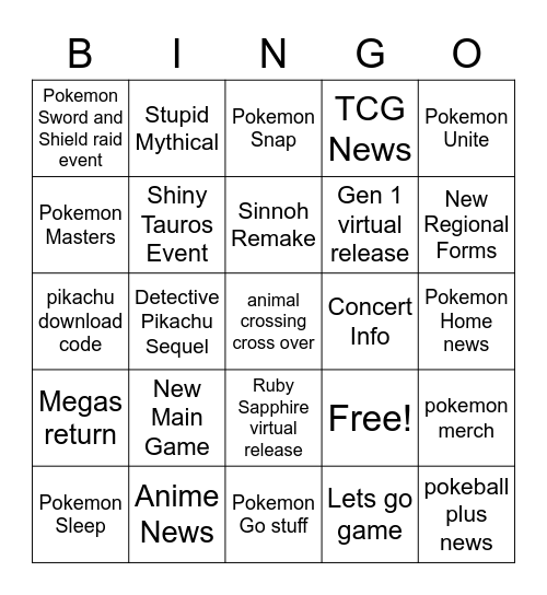 Pokedirect Bingo Card