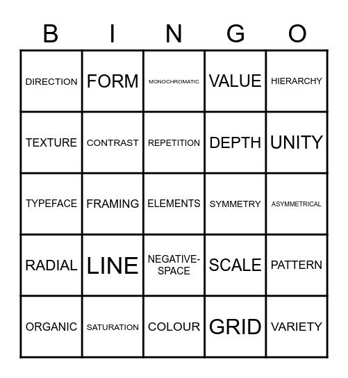 DESIGN Bingo Card