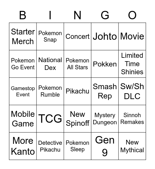 POKEMON WITH NEON Bingo Card