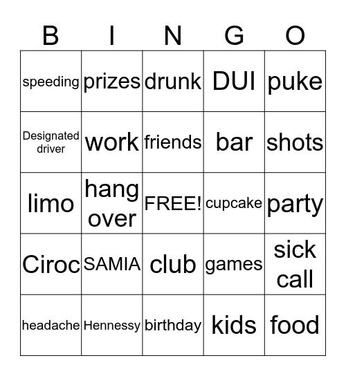 Samia Birthday Game Night  Bingo Card