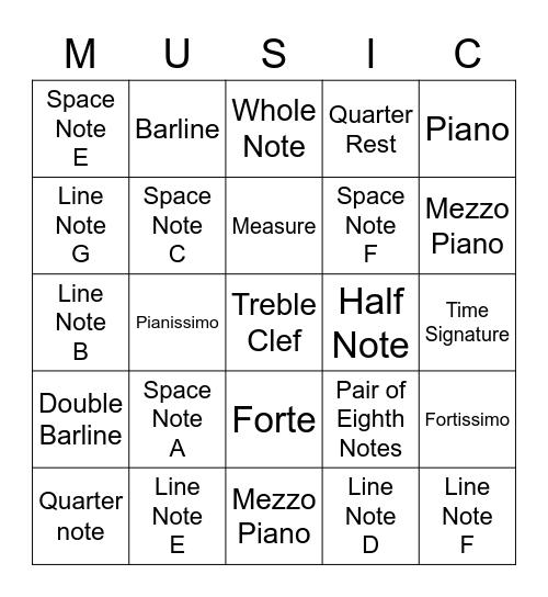 Music Symbols and Treble Clef Notes Bingo Card