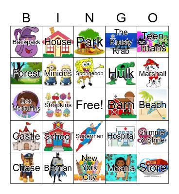Characters and Settings Bingo Card