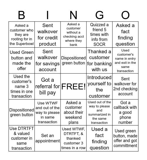 TGIF! Bingo Card
