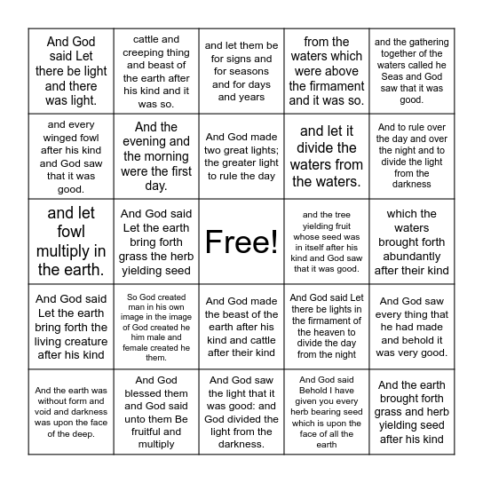 Blingo Bingo Card