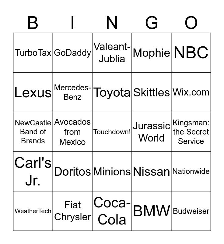 Super Bowl XLIX Ad Bingo Card
