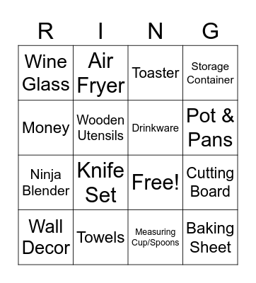 Kylie's Bridal Gifts Bingo Card