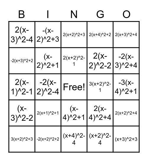 Vertex Form Bingo Card