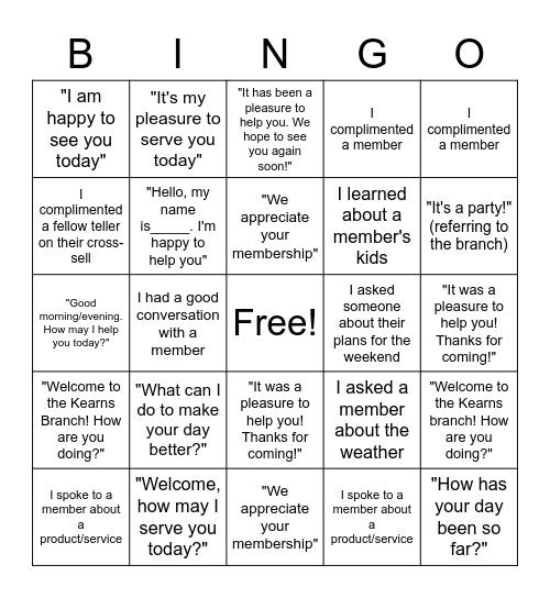 MEMBER SERVICE BINGO!!! Bingo Card
