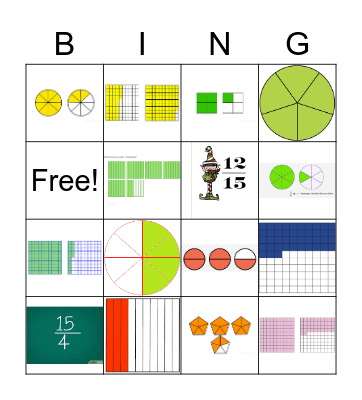 Fractions and Decimals Bingo Card