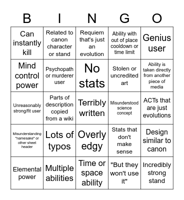 Teal Submission Bingo Card