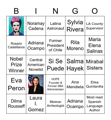 Latina History Makers Bingo Card
