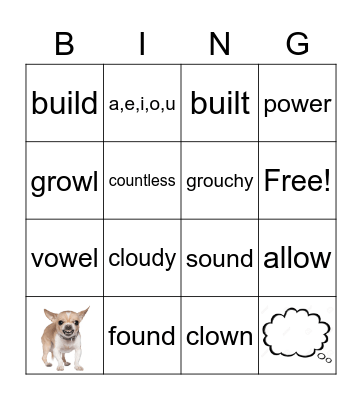 Phonics: ou and ow Bingo Card