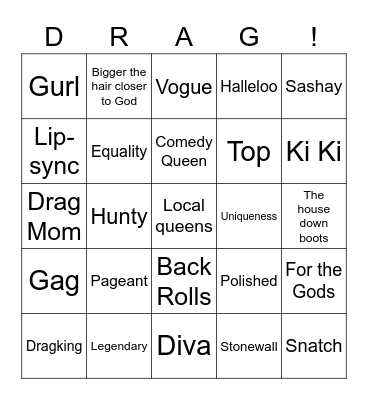 Drag Bingo Card