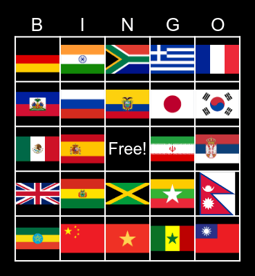 International Bingo Card