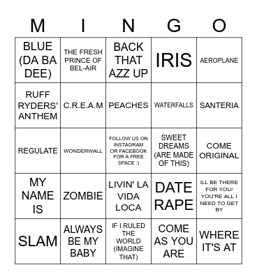 3/3 MINGO AT THE CHAMBER R1 Bingo Card