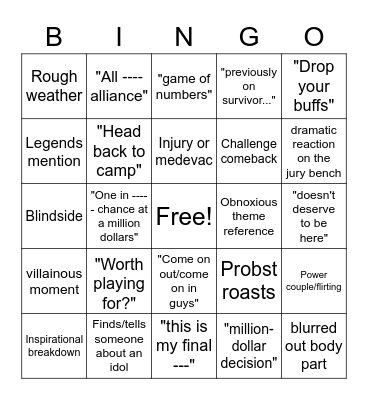 Survivor Bingo Card