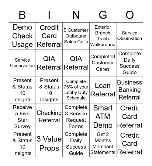 1st Person to get BINGO each week gets 100 Spotlight Points! Bingo Card