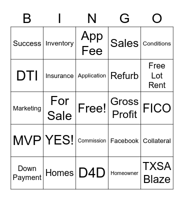 YES HOME SALES Bingo Card