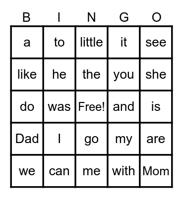 Sight WordsI Bingo Card