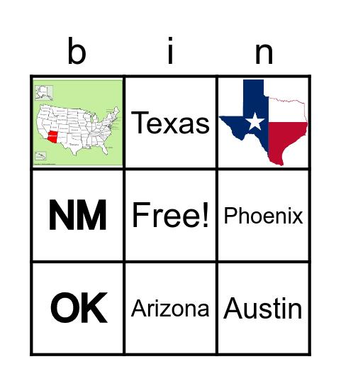 Southwest United States Bingo Card