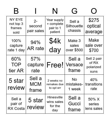 Optical Bingo Card