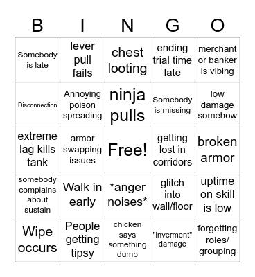 vSO Bingo Card