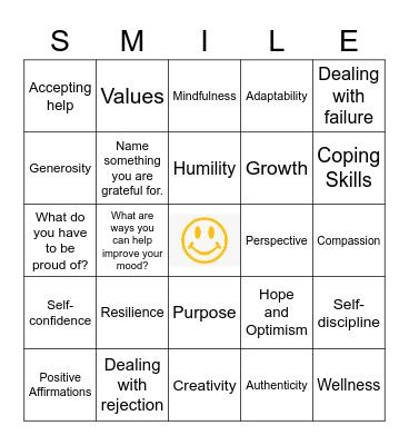 Positivity Bingo Card