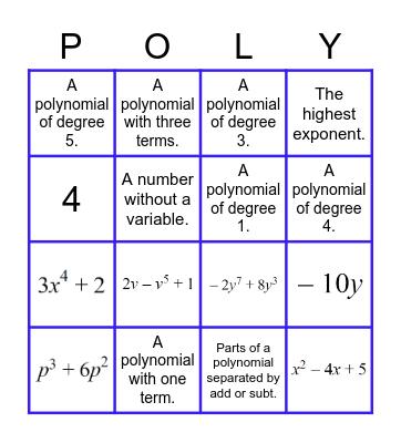 Polynomial Bingo Card